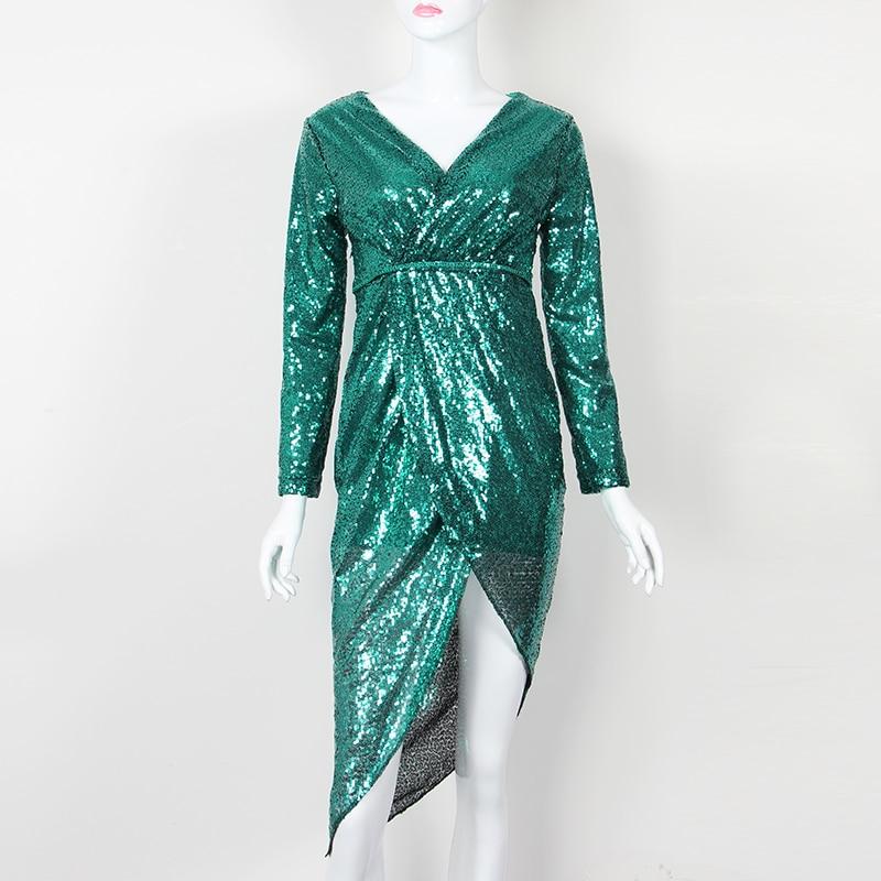 Women Sexy Clubwear Winter Dress Sequined Shine High Split Girl Evening Party Dress Elegant Sequin Dress Femme Robe Plus Size