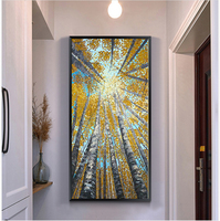Abstract Modern Canvas Wall Art Hand Painted Vertical Yellow Tree Oil Painting On Canvas Paint Brush