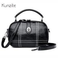 KUNZITE Womens Leather Handbags Designer Casual Top Handle Portable Bags For Ladies And Girls Three Pockets Messenger Bags Bolsa
