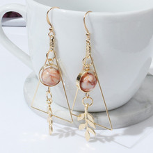 European and American Fashion Vintage Hollow Out Triangle Marble Round Beads Leaf Earrings For Woman Girls Jewelry Free Shipping