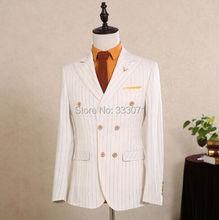 2016 Wool Classic stripe Custom Men suits Groom Formal Blazers Retro tailor made slim fit Wedding Party suit for men 3 Piece