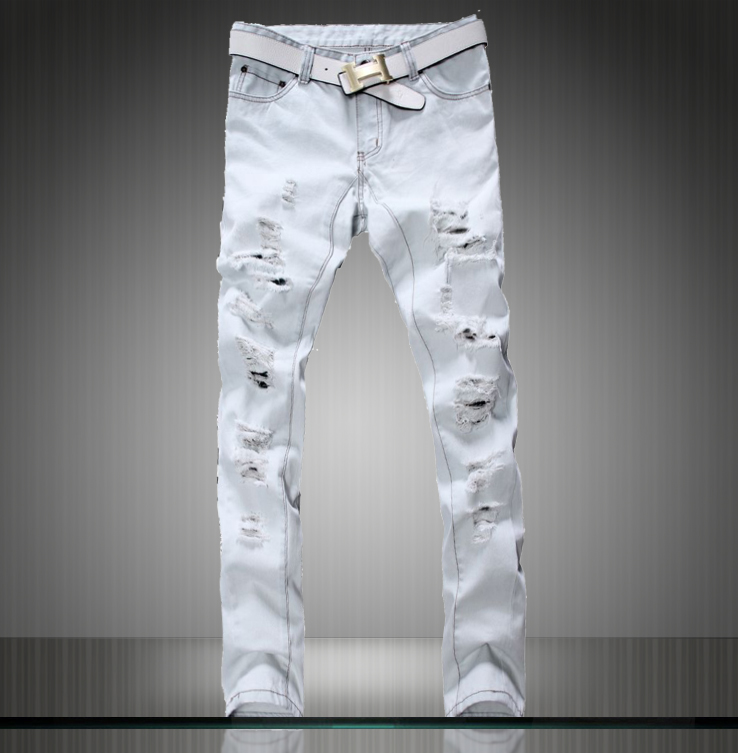 HOT! New Arrival Mens Jeans White Hole Jeans Beggar Style Pants ...