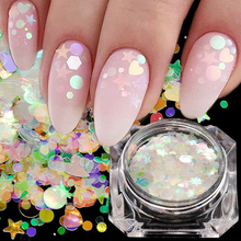 1 box Holographic Nail Glitter Mix Star Round Heart Flakies Mermaid Mirror Irregular Paillette DIY Sequins Nail Art Decor TR680 cheap Full Beauty 0 5-1g 1 bottle Holographic AB Colorful Rainbow Starry Sky Nail art Decorations Glitter Festival Glitter for Art
