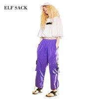ELF SACK Women Cargo Pants Loose Pockets Casual Trousers Womens Kpop Korean Style Pants Elastic Waist BL Oversize Female Pants