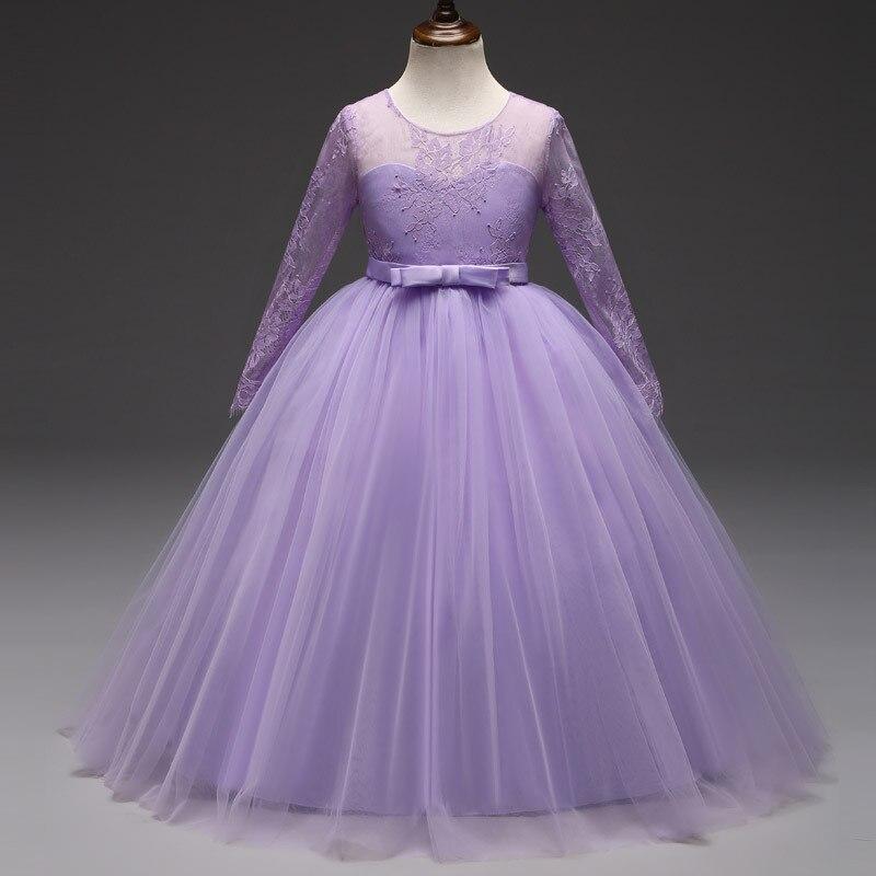 See Through Lace Long Sleeve Kids Teen Girls Evening Wedding Dress ...