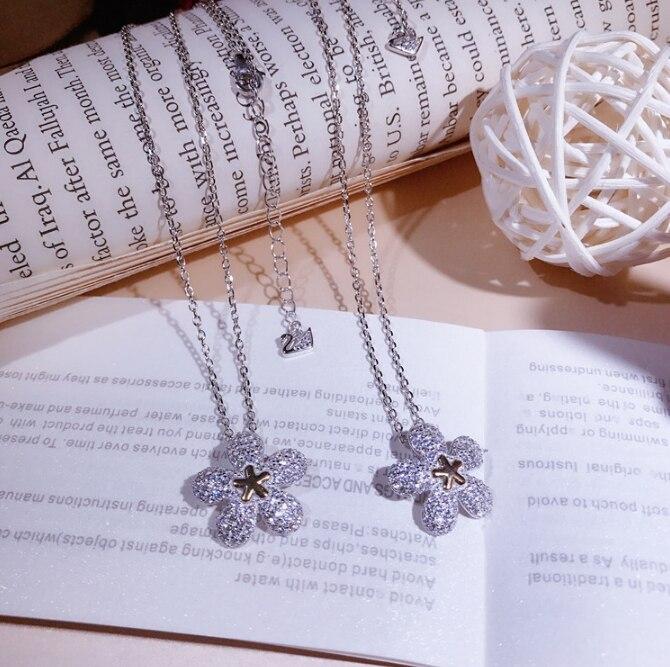 Offre spéciale pur 925 en argent Sterling fleur collier pendentif pour les femmes réel argent bijoux collier de haute qualité en gros