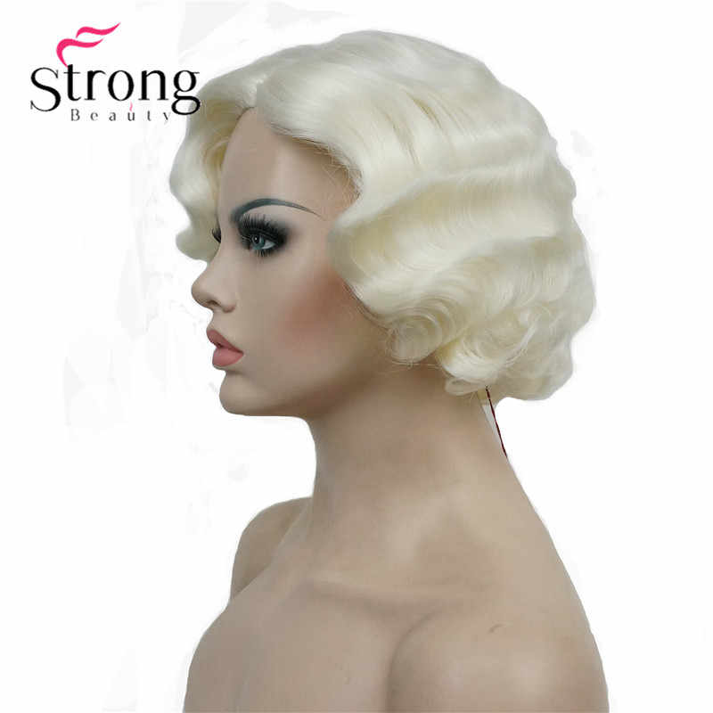 StrongBeauty 1920's Flappers Short Finger Wave Light Blonde Full Synthetic Wig