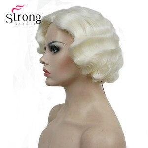 Image 1 - Strong beauty perruque synthétique complète courte ondulée à doigt ondulé Blonde 1920