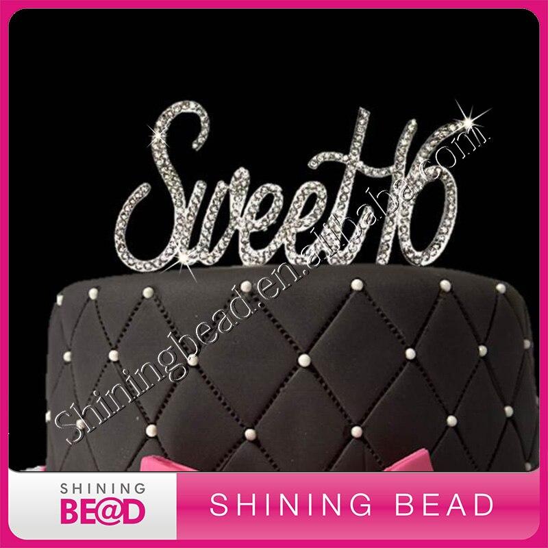 6593d06ac9 Envío libre! astilla oro dulce 16 rhinestone cake Topper para la decoración  del partido