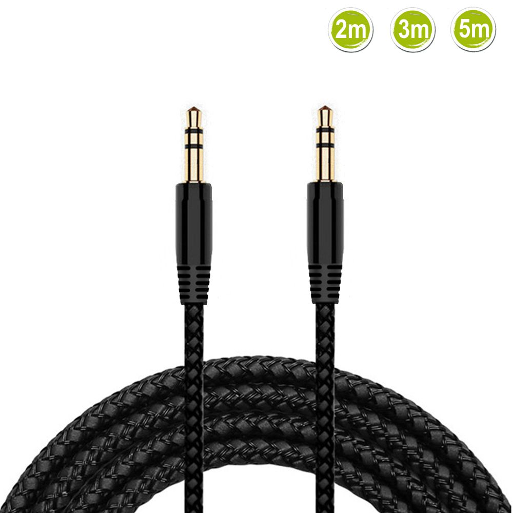 2/3/5m Nylon Braid Jack 3.5mm Audio Cable Male Stereo AUX Cable M/M Headphone Cord For IPhone Car Speaker Earphone MP3/4