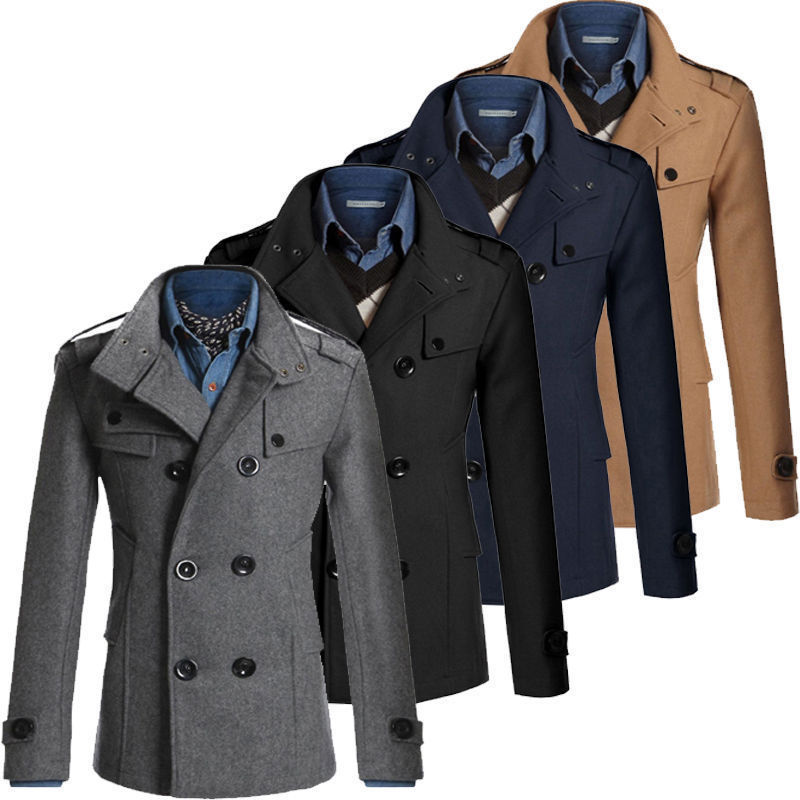 Woolen-Coat Reefer-Jackets Trench Solid-Stand Double-Breasted Winter Casual Warm Parka