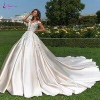 Waulizane глубокий v образный вырез линии Elagant атласное свадебное платье с 3D маленькие Floers короткий рукав свадебное платье