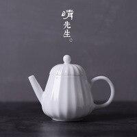 Sweet white glaze teapot ceramic tea maker kung fu teapot white porcelain small teapot small pot Jingdezhen tea set