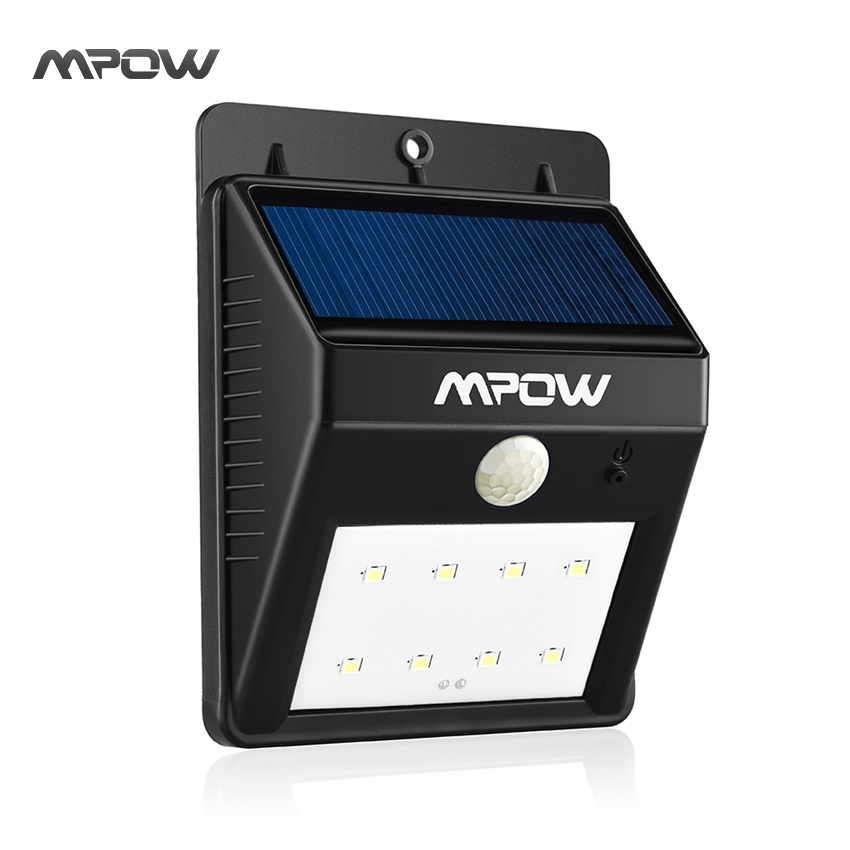 Mpow 1 Pack Solar Powerd Wireless LED Security Motion Sensor Light Outdoor Garden Lamp with Auto