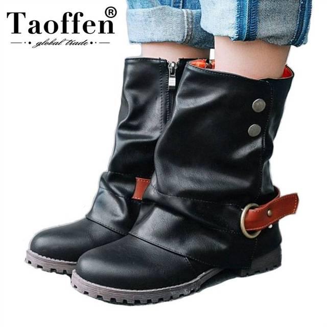 TAOFFEN ขนาด 33-43 ผู้หญิงกลางลูกวัวรองเท้าบูทรองเท้าผู้หญิงฤดูหนาวผู้หญิงหัวเข็มขัดสั้น Botas Vintage Flock รองเท้า