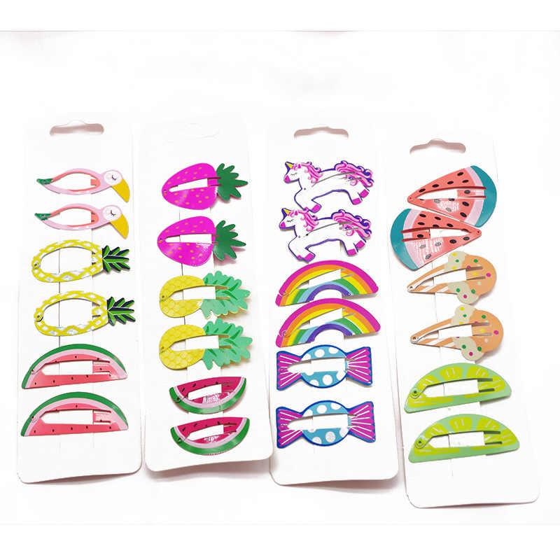 6 шт. милые новые печатные милые фрукты BB зажимы шпильки для волос девочек Детские аксессуары для волос Головные уборы Детские зажимы для волос
