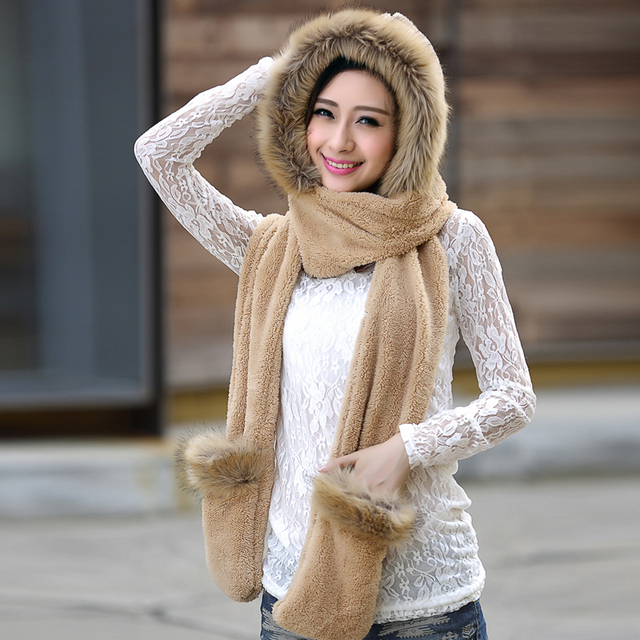 Hot selling new women winter warm soft plush faux fur hooded cap scarf  gloves Girls thick cashmere hats scarves and gloves sets 5c3aa3eb5e5