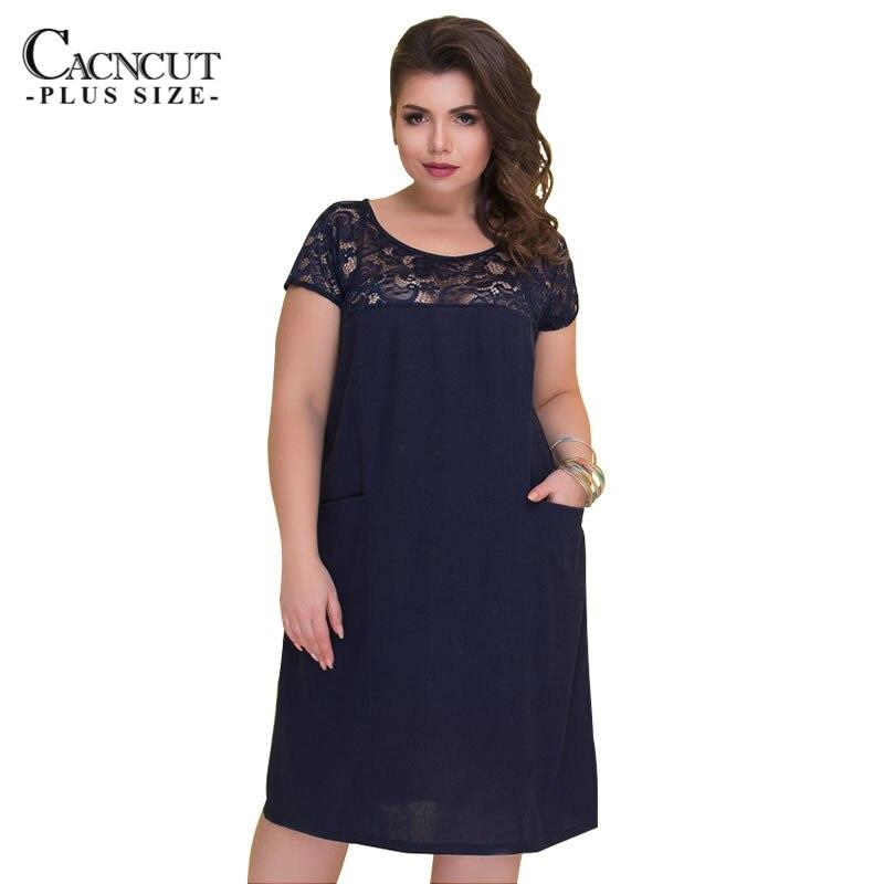 €13.01 36% СКИДКА|Женское платье большого размера CACNCUT 5XL 6XL, летнее кружевное платье темно синего цвета с вырезами, большие размеры, 2019|Платья| |  - AliExpress