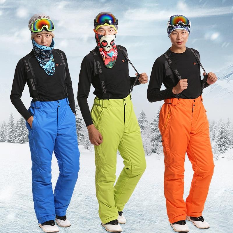 Winter Men Ski Pants Warm Outdoor Sports Waterproof Snow Trousers Snowboard Hombre With Shoulder Straps Skating Pants Plus Size oversize autumn winter men s tapered jeans trousers denim harem pant plus size 40 42 44 46 48