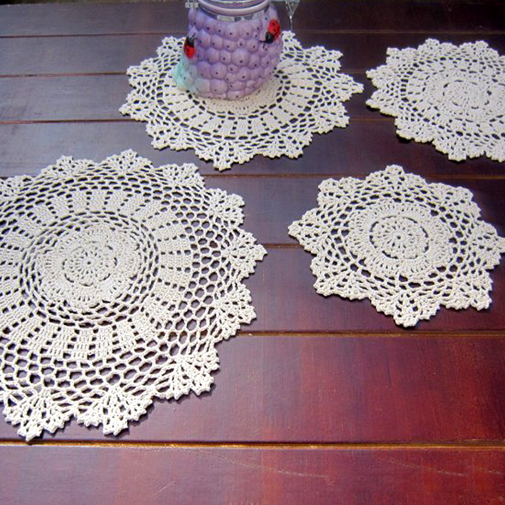 Handmade table mats design - Yazi 4pcs Handmade Cotton Hollow Floral Placemat Round Doily Pads Crochet Table Mat Table Cover Tablecloths