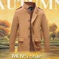 Vestido largo Invierno Homme Abrigo de Un Solo Pecho de Lana de Alta Calidad de La Manera 3 Color Mens Coat Plus Tamaño 4XL/5XL Uomo Chaqueta