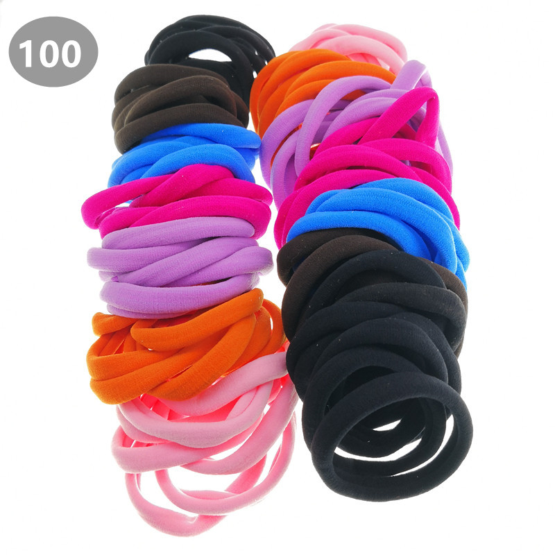 100 Pcs/lot Large Seamless Black Elastic Hair Ties Adult Women Ponytail Holder Girls Hair Accessories Pt067 Fragrant Flavor In