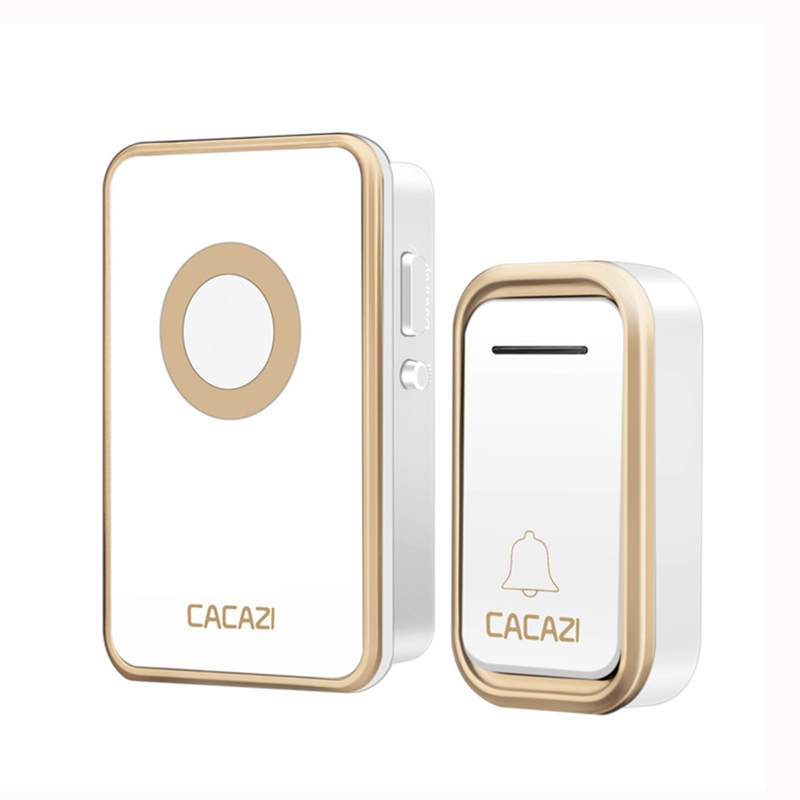 CACAZI wireless doorbell newest 300M AC 110-220V button waterproof EU US UK plug doorbell 3 volume 38 rings door chime