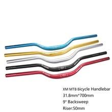 XM MTB 자전거 라이저 핸들 31.8mm * 700mm 알루미늄 합금 산악 자전거 라이즈 바 두꺼운 튜브 9도 뒤집기