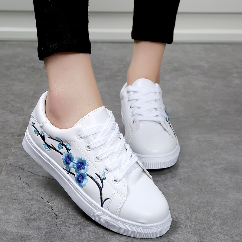 Women Sneakers Vulcanize Shoes Embroider Floral Tenis Feminino Shoes Casual White Sneakers Lace Up Ladies Vulcanize Shoes ALD910 glowing sneakers usb charging shoes lights up colorful led kids luminous sneakers glowing sneakers black led shoes for boys