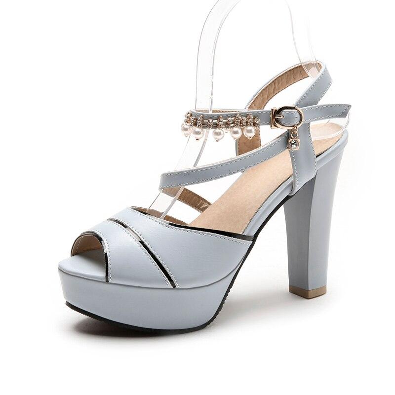 Blue Gladiateur Cuir 2018 Sandales White En Taille Plus Parti Xaxbxc Nouvelle Haute hx6777 Plate Femmes Chaussures Hx6777 forme Pink La Peep Toe D'été Femme hx6777 Talons Strass dBqx8wI