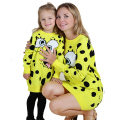 2016 New Family Matching Outfits Mother And Daughter Spring&Autumn Style INS Hot Sale Full Yellow Cartoon Dots Dress tyh-30700
