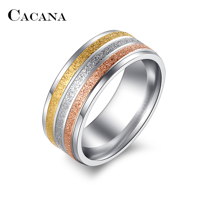CACANA Stainless Steel Rings For Women Three Colors Lines Trendy Wedding Rings F