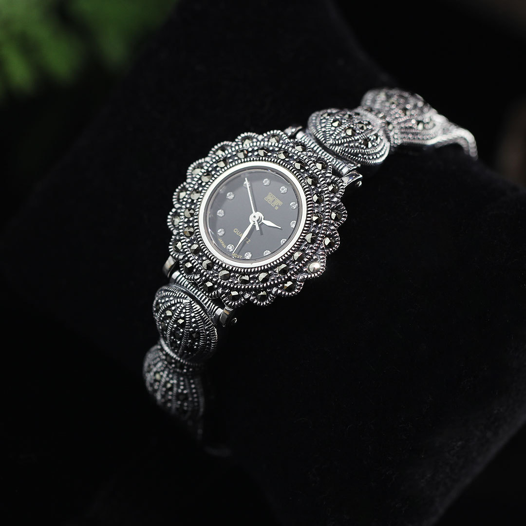 MetJakt Handmade Vintage Thai Silver Bracelet Watch with Zircon Solid 925 Sterling Silver Bracelet for Women