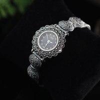 Metjakt ручной работы Винтаж тайский серебряный браслет часы с цирконом одноцветное 925 Серебряный браслет для Для женщин Роскошные ювелирные и