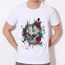 Rose skeleton fashion men's T Shirts Men T-Shirt Top Swag Short Sleeve skull Tee boy shirt Fitness 13-15#