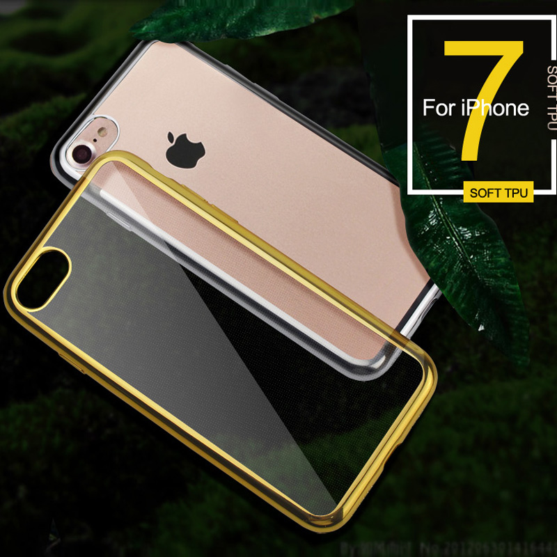 KOBEE For iPhone 7 Case Gold Transparent Soft Silicone TPU Back Cover Coque For iPhone 7 Mobile Phone Accessories 50PCS/LOT DHL
