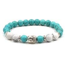 Новинка, модные женские браслеты, голова Будды, скелет лавы, бирюза, натуральный камень, бусины для женщин, браслеты, мужские ювелирные изделия, подарки