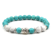 New Fashion Woman Bracelets 2019 Buddha Head Lava Skeleton Turquoises Natural Stone Beads For Women Men Jewelry Gifts