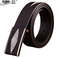 2017new 100%cowhide Genuine Leather Good Quality Business Mens Belt Luxury Designer Brand Buckle Male Belts for Men Freeshipping