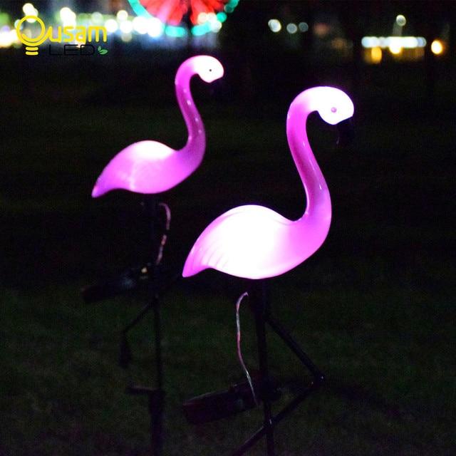 Luz Solar de jardín Flamingo, iluminación de decoración de patio, impermeable, lámpara LED para jardín alimentada por energía Solar con carga automática