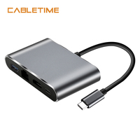 Cabletime USB C To HDMI And USB 3 0 Hub Adapter Lan RJ45 Network Type C