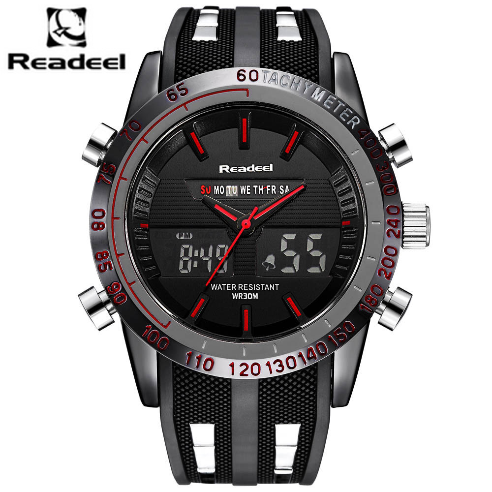 Men's Sport Watch LED Quartz Outdoor Waterproof + Chronograph