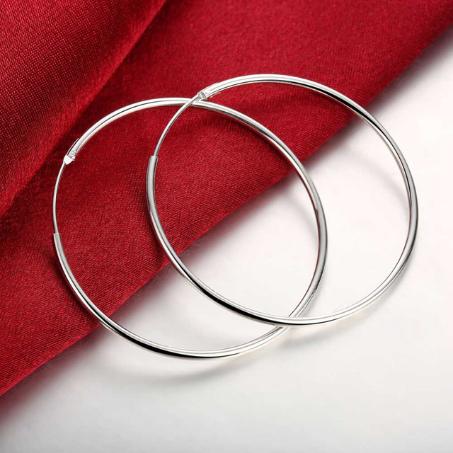 Diameter:5cm Exquisite Silver Earrings For Women Classic Wedding Party Jewelry S