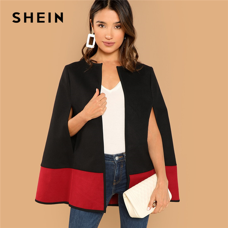 SHEIN Weekend Casual Black Round Neck Two Tone Open Front Cloak Sleeve Cape Coat 2018 Streetwear Modern Lady Outerwear Coat New