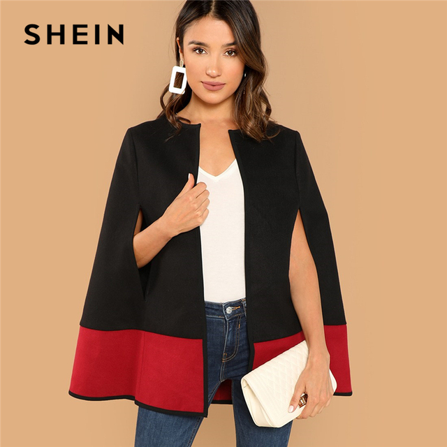 923385e6ac31 SHEIN Weekend Casual Black Round Neck Two Tone Open Front Cloak Sleeve Cape  Coat 2018 Streetwear