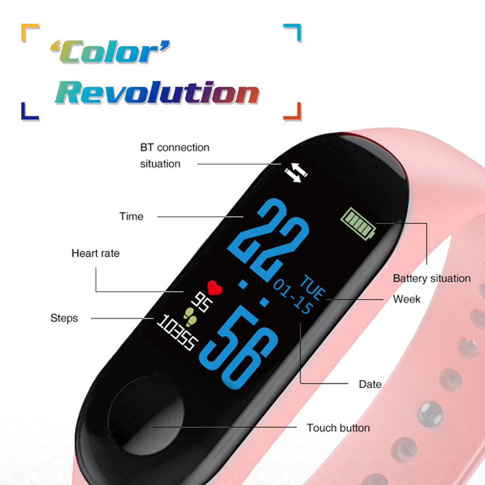 M3 Smart Watch Bracelet Band Fitness Tracker Messages Reminder Color Screen Waterproof Sport Wristband For men women