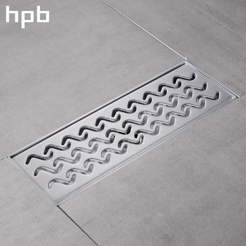 HPB Stainless Steel 304 Bathroom Shower Floor Drain 30*10cm Grates Waste Linear Tile Insert Long Drainer Floor Drain 70cm 304 stainless steel linear nickel brushed toilet floor drain strainer grates waste bathroom shower overflow part pjdl015 5