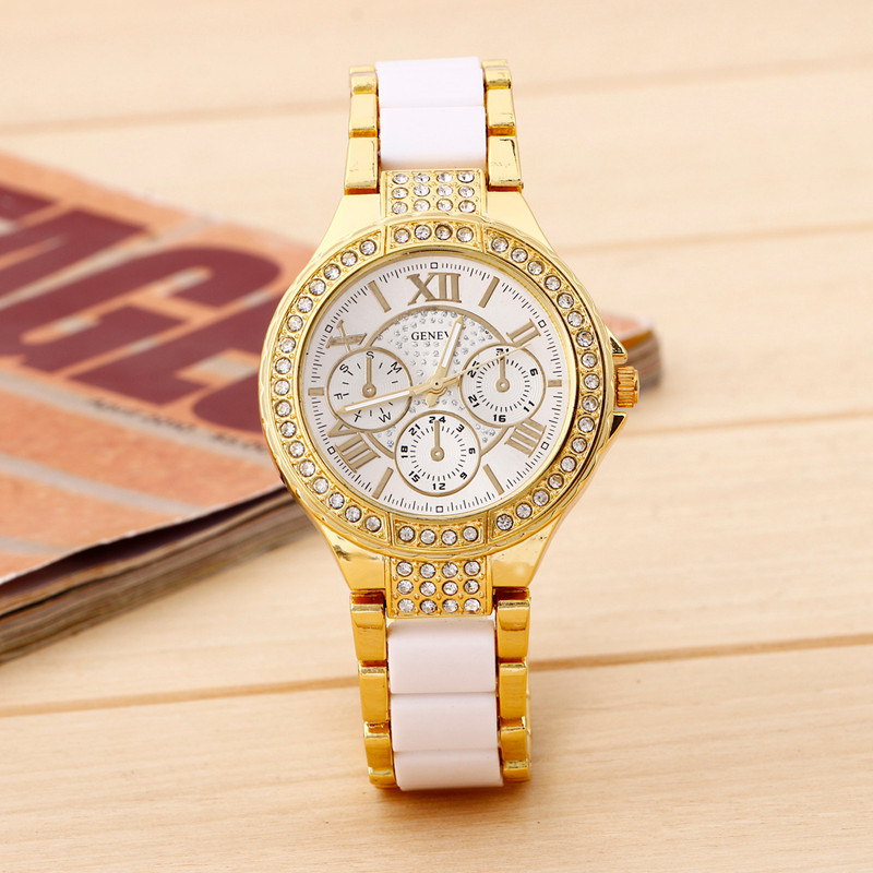 Best Deal Quartz Watch Women Trendy Geneva Stainless Steel Roman Numerals Quartz Analog Wrist Watch Dress Clock Montre Reloj top sale montre femme quartz watch women s fashion geneva roman numerals faux leather analog wrist watch relogios femininos yo1