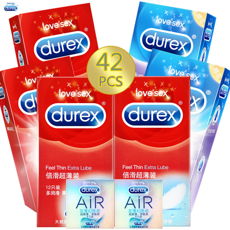 Durex Condoms 20/42 Pcs Feel Thin Extra Lube Condoms Boxes Erotic Products Adult Sex Toys Tool Kondoms Cock Sleeve for Men durex ky lube sex supplies 50g