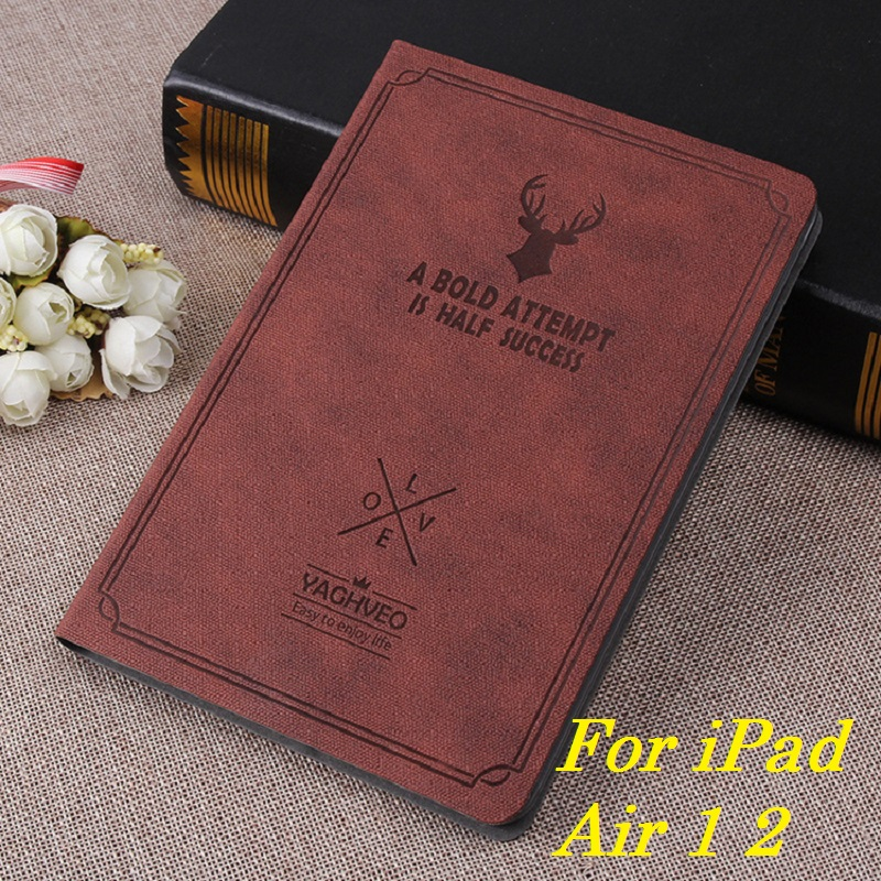 New Retro Coque For iPad Air 1 2 Case Smart Awake Sleep Stand PU Cartoon Deer Case For iPad Air 1 Air 2 Shockproof Cover Stand